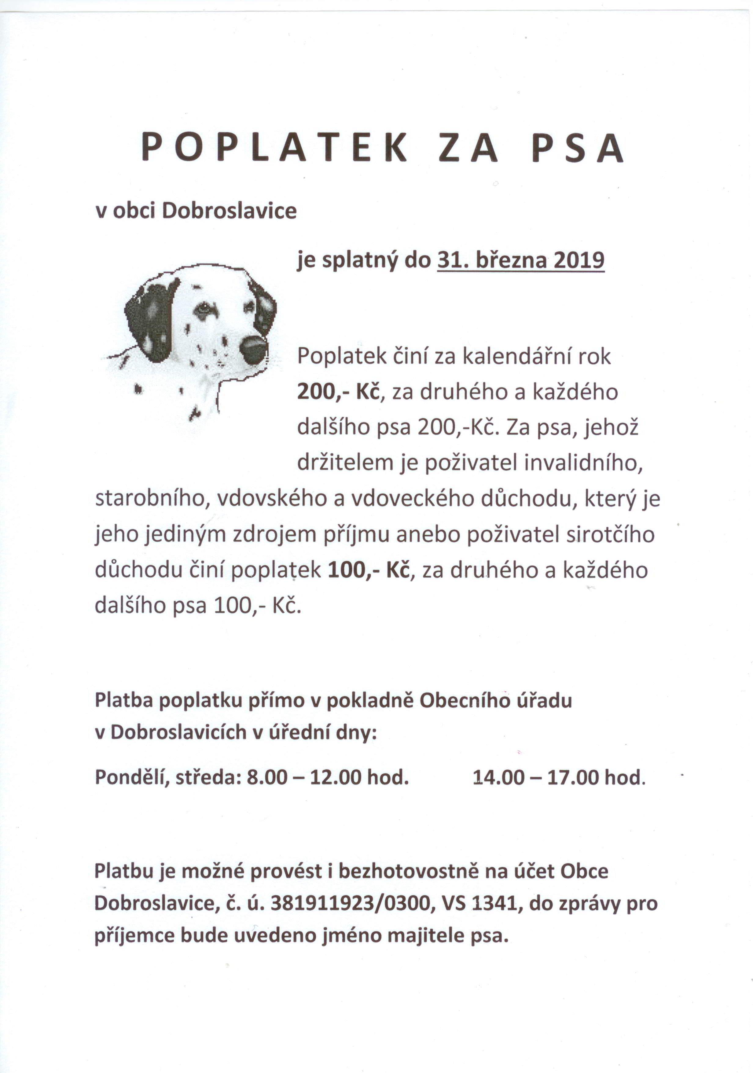 poplatek za psa 2019